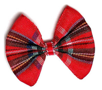 Dog Bow Barrette - Holiday Plaid