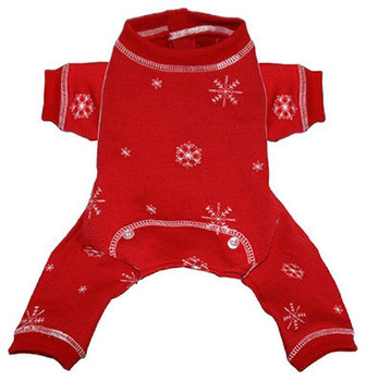 Red Snowflake Dog Long Johns
