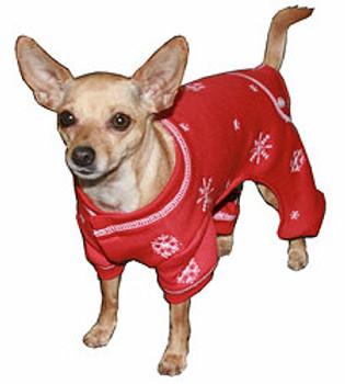 Red Snowflake Dog Long Johns