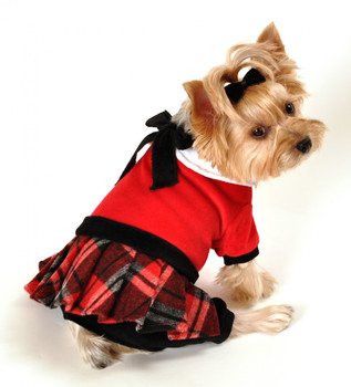 Red Plaid Dog Jumper with Skirt