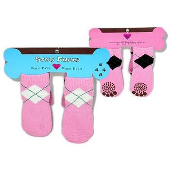 Petal Pink Argyle Dog Socks