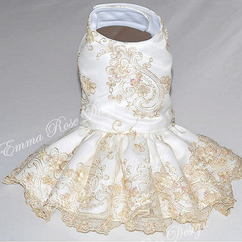 Heirloom Couture White and Gold Dog Dress