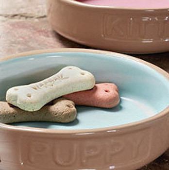 Stoneware Puppy Saucer Bowls - Pink or Blue
