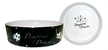 Pampered Princess Dog Bowl - Black