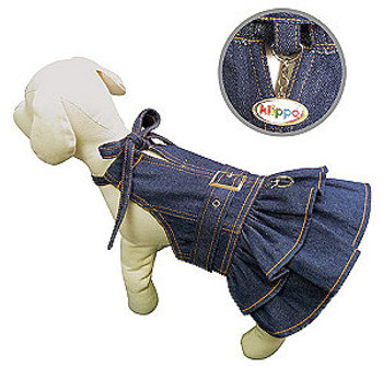 Denim Dog Dress with Neck Strap