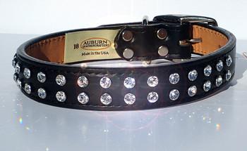 Madison & Maxwell Crystal Leather Dog Collar - Black