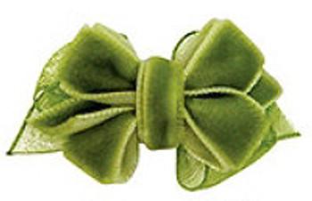 Sage Green Velvet Double Bow Dog Barrette