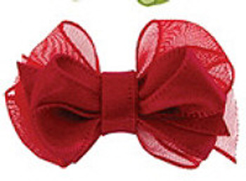 Red Satin Double Bow Dog Barrette