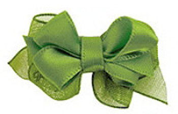 Green Satin Double Bow Dog Bow
