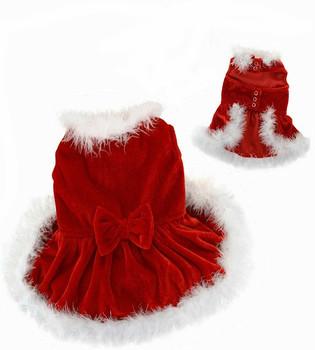 Christmas Dog Dress with Boa Trim