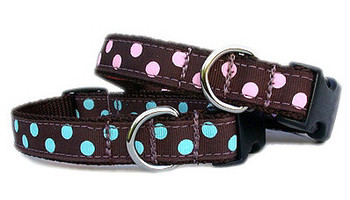 Chocolate & Blue Dot Grosgrain Dog Collar & Harnesses