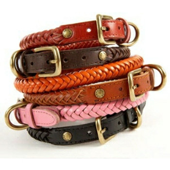 Braided Leather Dog Collars - Black Only