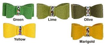 Crystal Dog Hair Bow Barrettes - Greens - Susan Lanci Designs