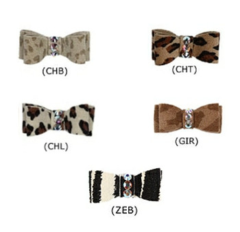 Crystal Dog Hair Bows Barrettes - Animal Prints