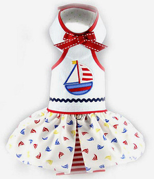 Sail Away Halter Dog Dress - Size Medium