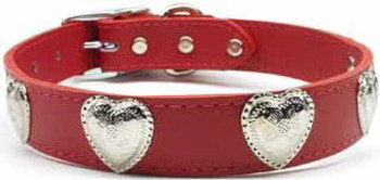 Western Heart Leather Dog Collar - Red