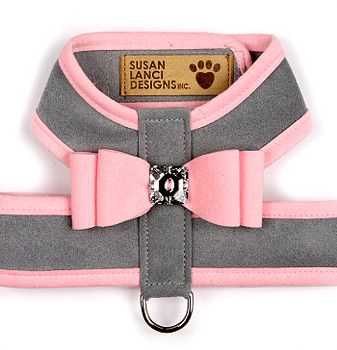 Big Bow Dog Tinkie Harnesses -Platinum / Puppy Pink Trim & Bow