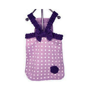 Lavender Polka Dot Dog Dress - XS