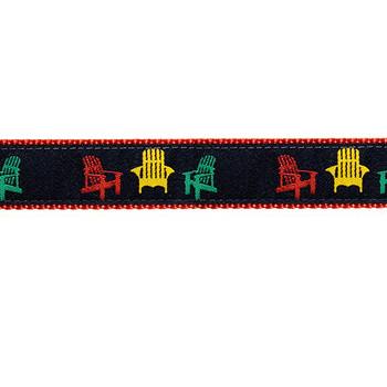 Dog Collar - Navy Adirondack Chair - 3/4 & 1 1/4