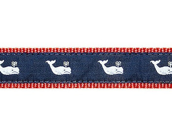 Dog Collar - Whales White on Navy - 1/2, 3/4, 1 1/4
