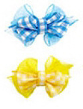 Checkered Dog Hair Bows - Pink, Yellow, Lime Green & Blue