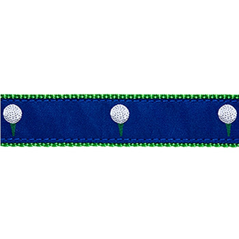 Dog Collar - Golf Balls Blue - 3/4 &1 1/4