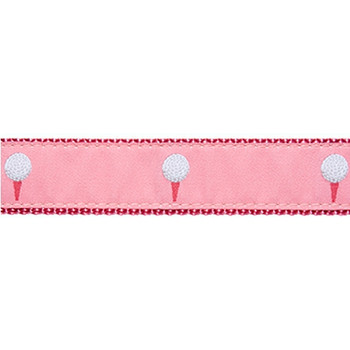 Dog Collar - Golf Balls Pink - 1/2, 3/4 & 1 1/4