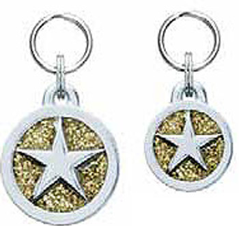 Engravable Glitter Symbol Dog ID Tag Charm - Star