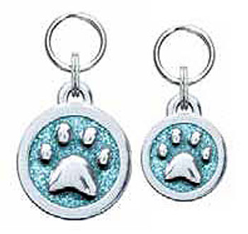 Engravable Glitter Symbol Dog ID Tag Charms - Paw