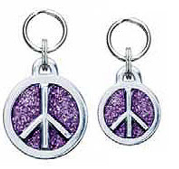 Engravable Glitter Symbol Dog ID Tag Charm - Peace Sign