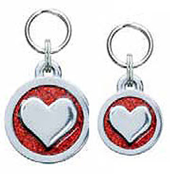 Engravable Glitter Symbol Dog ID Tag Charm - Heart