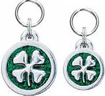 Engravable Glitter Symbol Dog ID Tag Charms - Four Leaf Clover