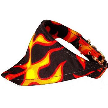 Dog Collar Bandana - Black Flames