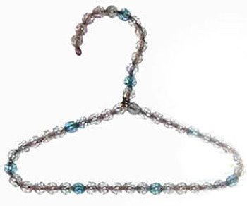 Turquoise or Clear Beaded Dog Clothing Hangers