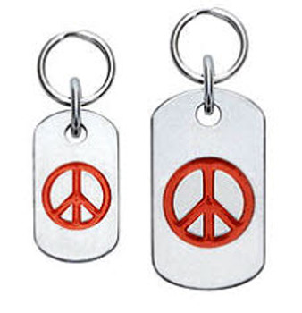 Dog ID Tag with Peace Sign - Engravable, 18 Colors