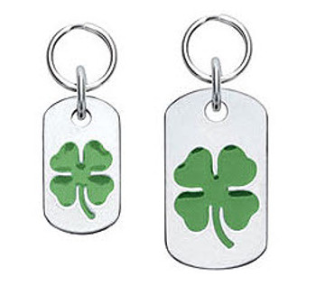 Dog ID Tag with Four Leaf Clover - Engravable, 18 Colors
