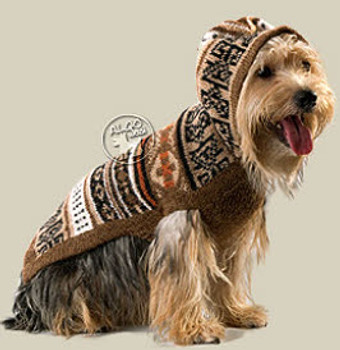 Alpaca Dog Sweater - Incan Style w/ Hood