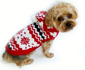 Fair Isle White Snowflake Dog Sweater - Size 10
