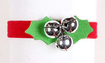"Jingle Bells 1/2"" Ultra Suede Dog Collars"
