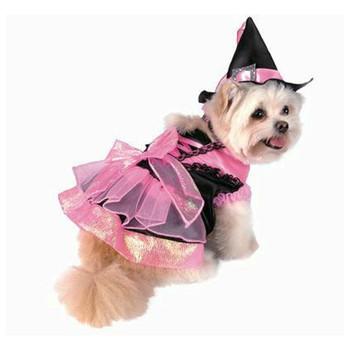 Pet Dog Costume - Shiny Pink Witch