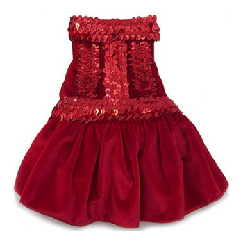 Red Velvet Sequin Dog Dress