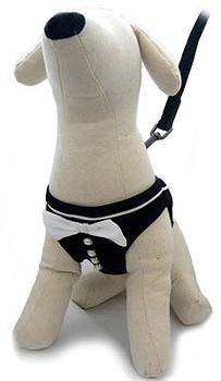 Tux Black and White Satin Step-in Dog Harness