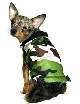 Reversible Camo Dog Puffer Vest Jacket