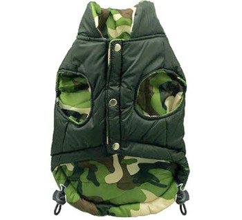 Reversible Camo Dog Puffer Vest Jacket