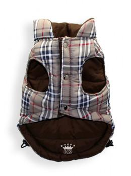 Reversible Brown Plaid V Dog Puffer Vest Jacket