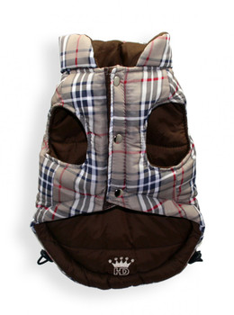 Reversible Brown Plaid V Dog Puffer Vest Jacket
