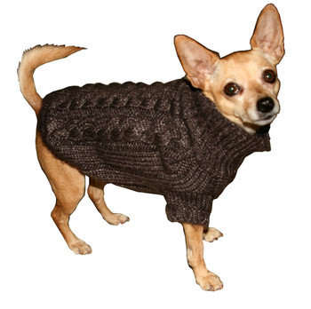 Angora Cable Knit Dog Sweater - Chocolate