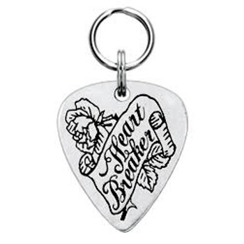 Heart Breaker Engravable Pewter Guitar Pick Dog Tag