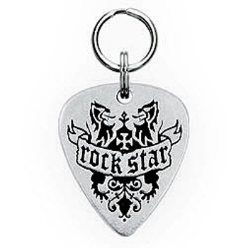 Rock Star Engravable Sterling Silver Guitar Pick Dog Tag 2
