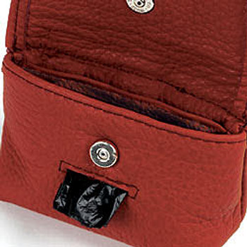 Red Leather Leash Accessory Poop Bag Holder